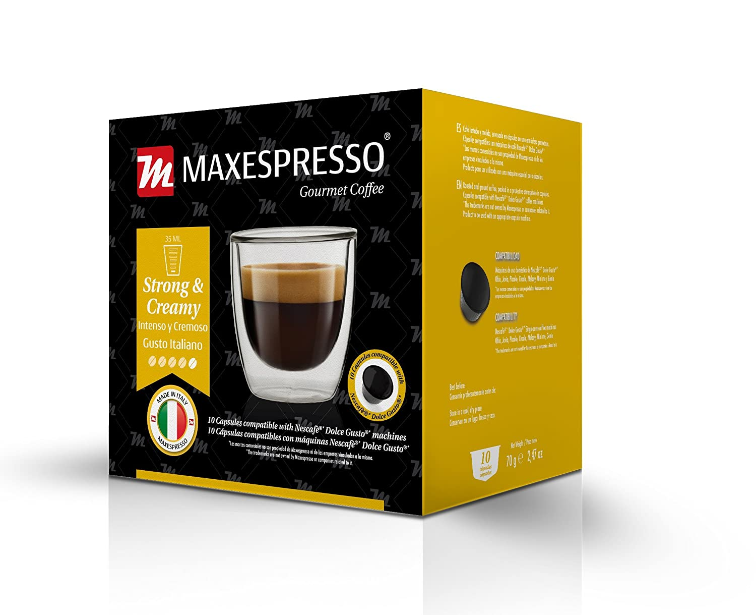 Nescafe Dolce Gusto Compatible Capsules, MaxEspresso Gourmet Coffee, Italian Quality Coffee (Caffelatte - Coffee and Milk, 10 Capsules): Amazon.com: Grocery ...