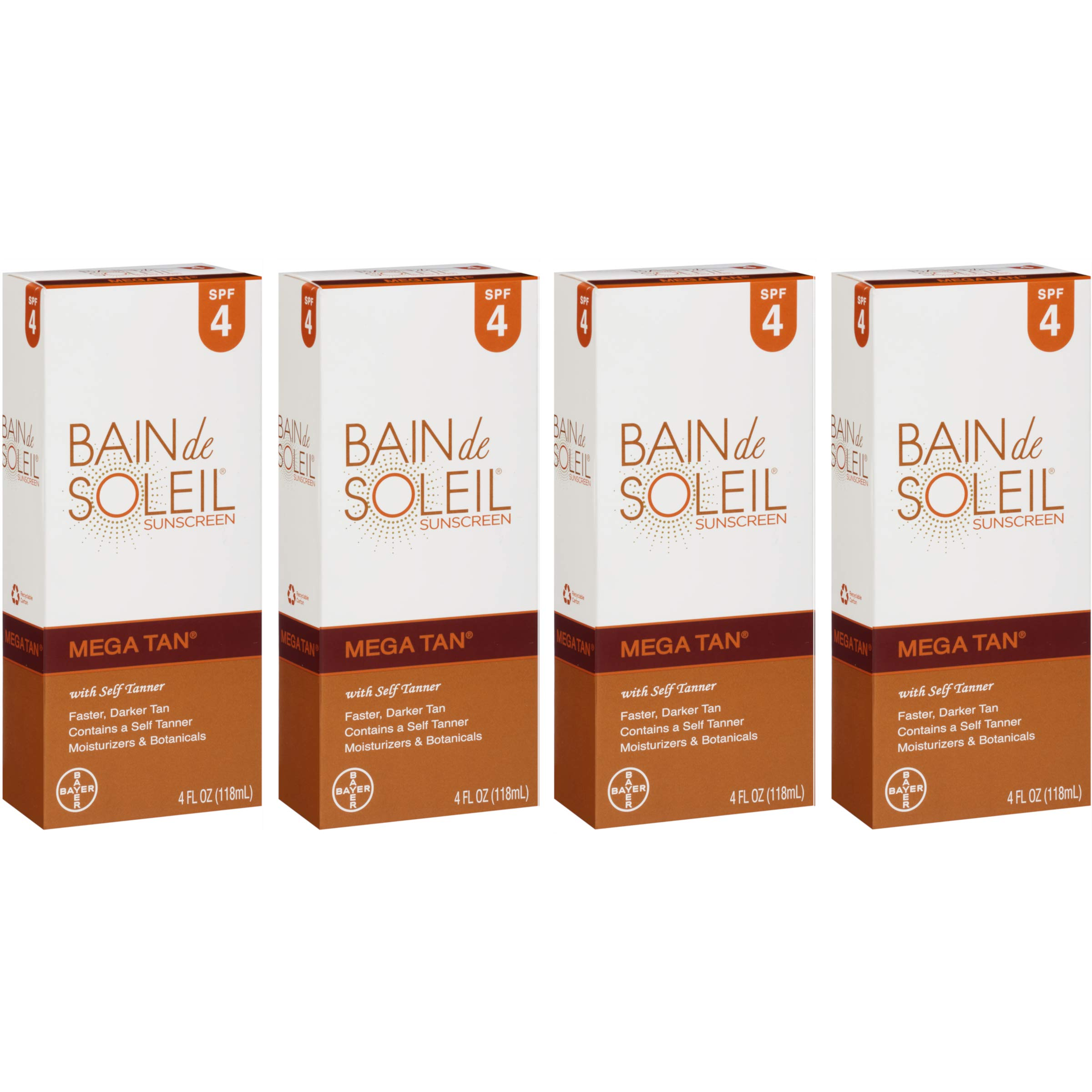 Bain de Soleil Mega Tan Sunscreen With Self Tanner, SPF 4 4 oz (Pack of 4)