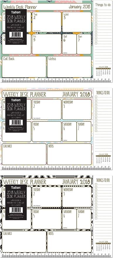 Planificador semanal de mesa con regla y perforado lista de tareas ...