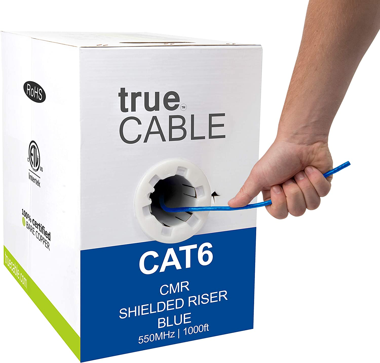 Black 550MHz Bulk Ethernet Cable Shielded FTP 23AWG Solid Bare Copper Waterproof 1000ft Direct Burial Rated CMX trueCABLE Cat6 Outdoor ETL Listed