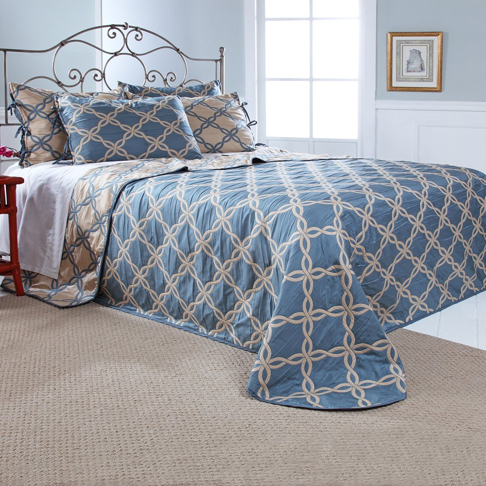 Stylemaster Home Products Renaissance Home Fashion Belmont Reversible Bedspread, Twin, Harbor
