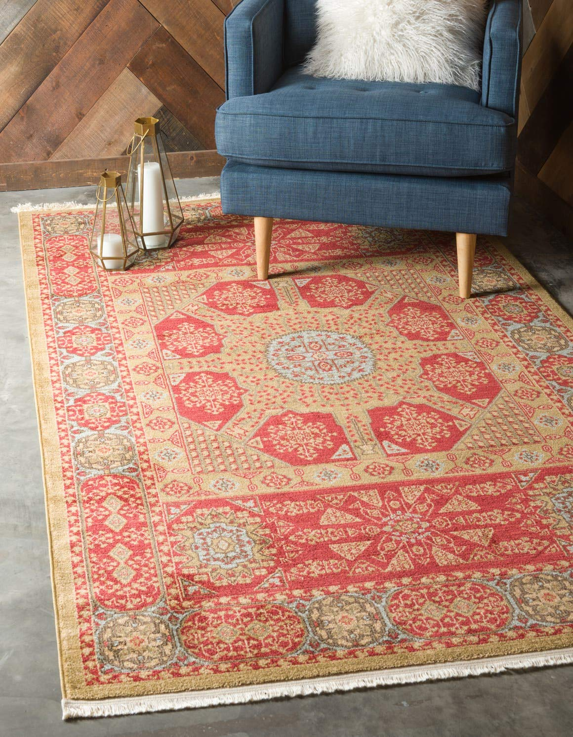 Unique Loom Palace Collection Traditoinal Geometric Classic Red Area Rug 5 0 x 8 0