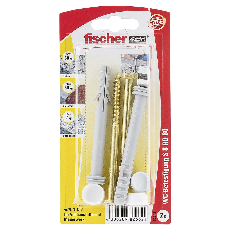 Fischer 82662 - S 8 rd 80 k wc y fijació n sanitaria - multicolor (2 piezas)