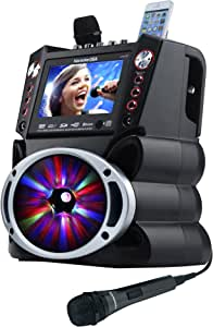 """Karaoke USA GF845 Complete Karaoke System with 2 Microphones, Remote Control, 7"""" Color Display, LED Lights - Works with DVD, Bluetooth, CD, MP3 and All Devices"""