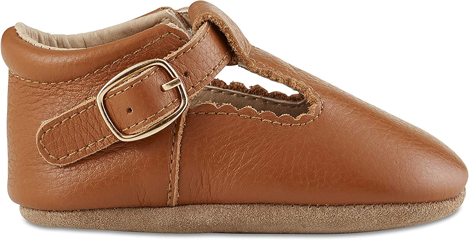 Babe Basics Baby Mary Janes Genuine Leather Moccasins with T-Strap for Babies and Toddlers T-Bars