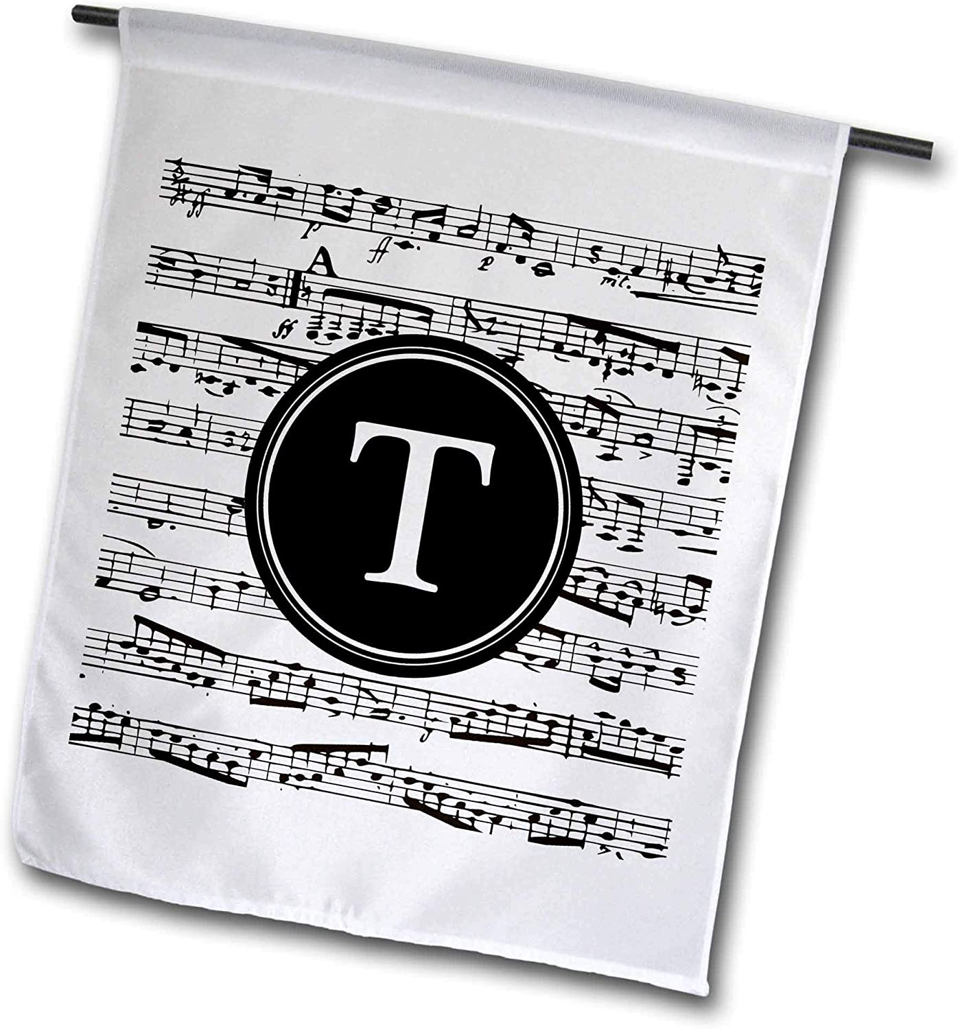 3dRose InspirationzStore - Monograms - Musical Letter T Black and White Music Monogram Personalized Initial T - 12 x 18 inch Garden Flag (fl_316395_1)