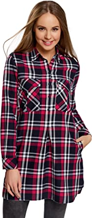 oodji Ultra Mujer Vestido Camisa de Algodón