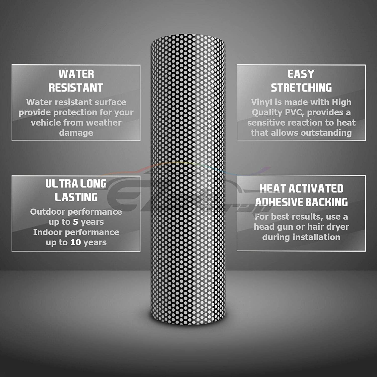 24X60 2FT X 5FT EZAUTOWRAP Free Tool Kit White One-Way Vision Perforated Print Media Vinyl Privacy Window Film Adhesive Glass Wrap Roll