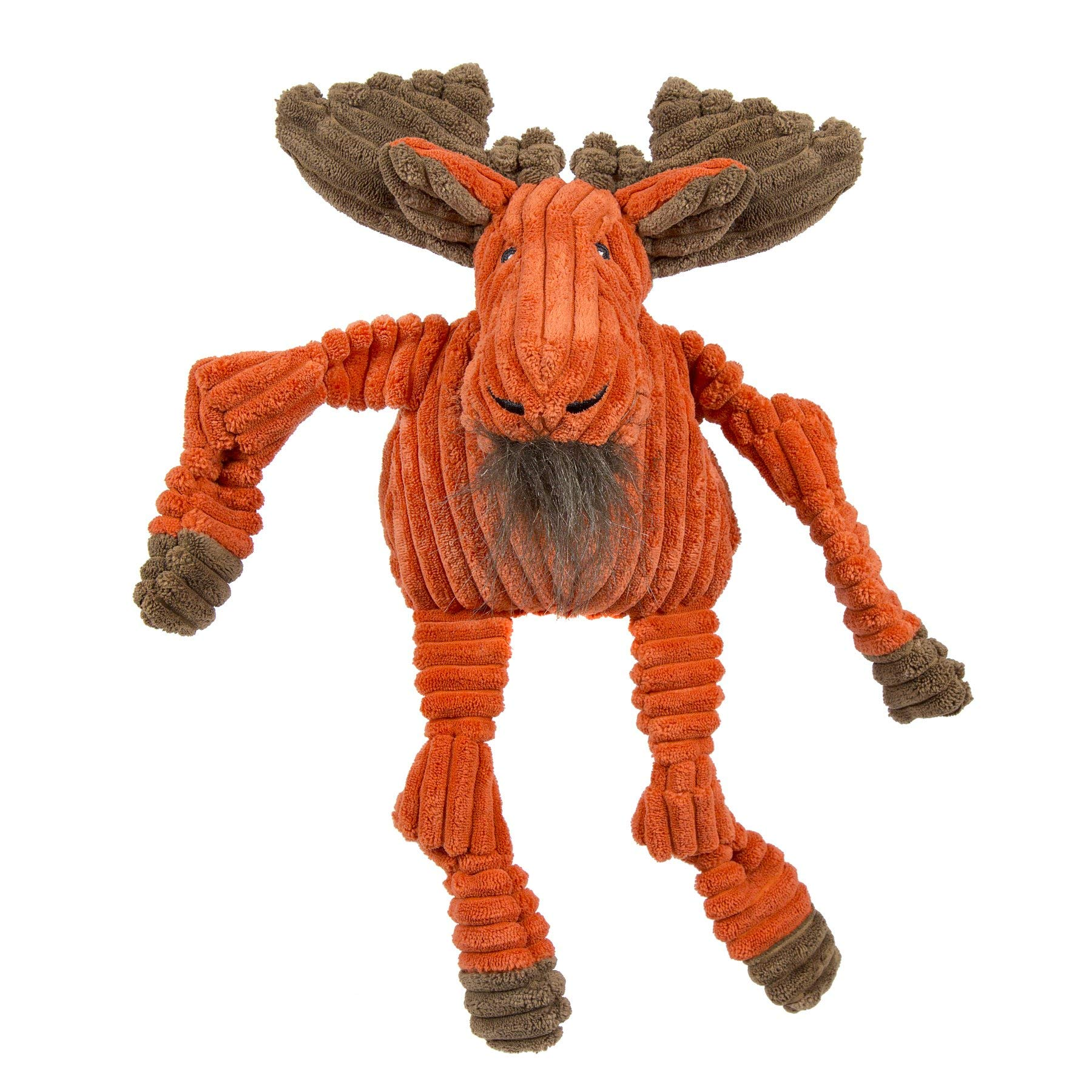 HuggleHounds Plush Corduroy Durable Squeaky Knottie, Dog Toy, Great Dog Toys  for Aggressive Chewers, Moose, Large by HuggleHounds
