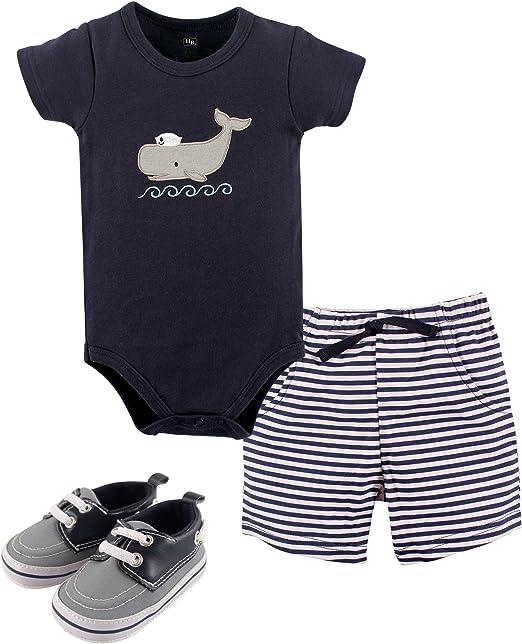 Hudson Baby Unisex Baby Cotton Bodysuit, Shorts and Shoe Set clothing for infants