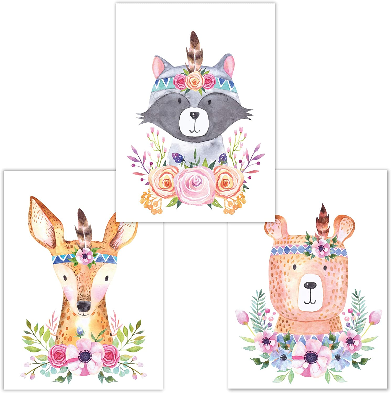 Little Fairy Tales Kinderzimmer Poster Set 3 St/ück Waldtiere Junge M/ädchen B/är, Fuchs, REH DINA 4 Babyzimmer Deko