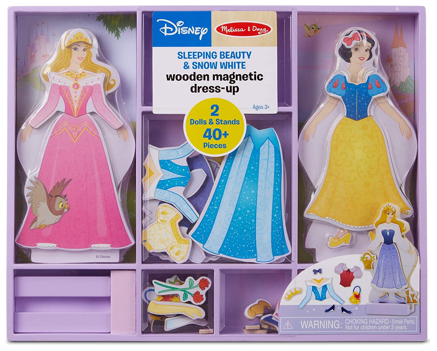 Melissa & Doug Disney Sleeping Beauty and Snow White Magnetic Dress-Up Wooden Doll Pretend Play Set (40+ pcs)