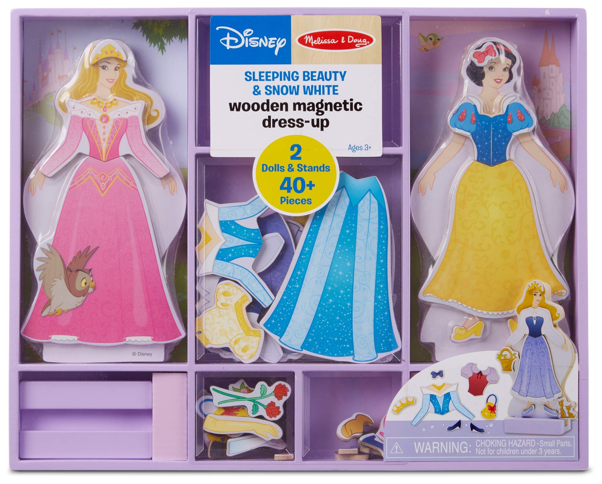 Melissa & Doug Disney Sleeping Beauty and Snow White Magnetic Dress-Up Wooden Doll Pretend Play Set (40+ pcs) by Melissa & Doug