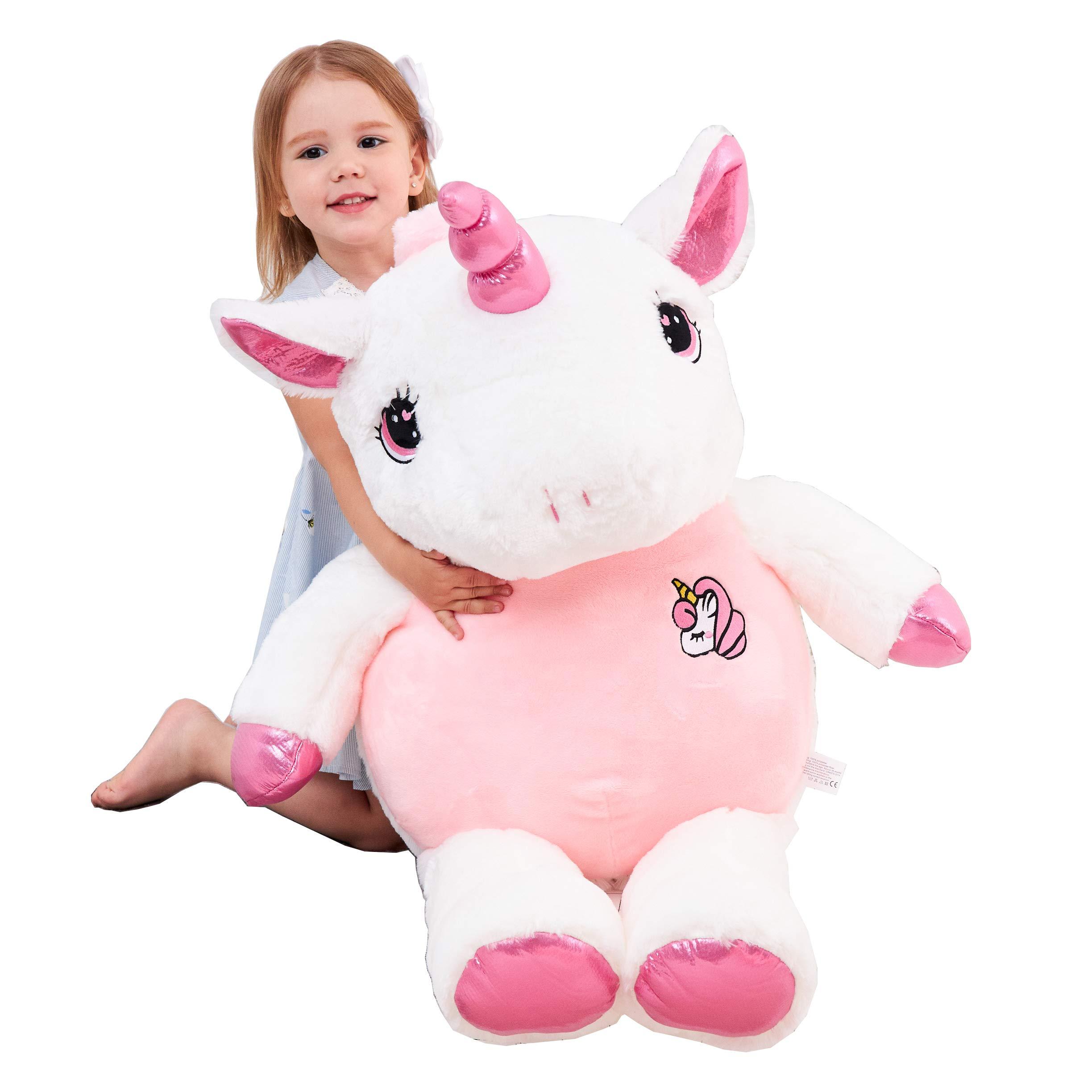 IKASA Giant Stuffed Unicorn Plush Toy Stuffed Animal Pink 39 inches by IKASA