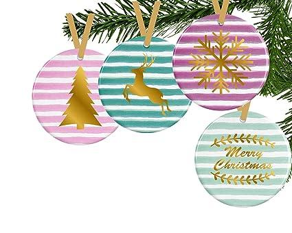 Vintage Style Christmas Ornaments.Amazon Com Georgia Barnard Striped Christmas Ornaments Set