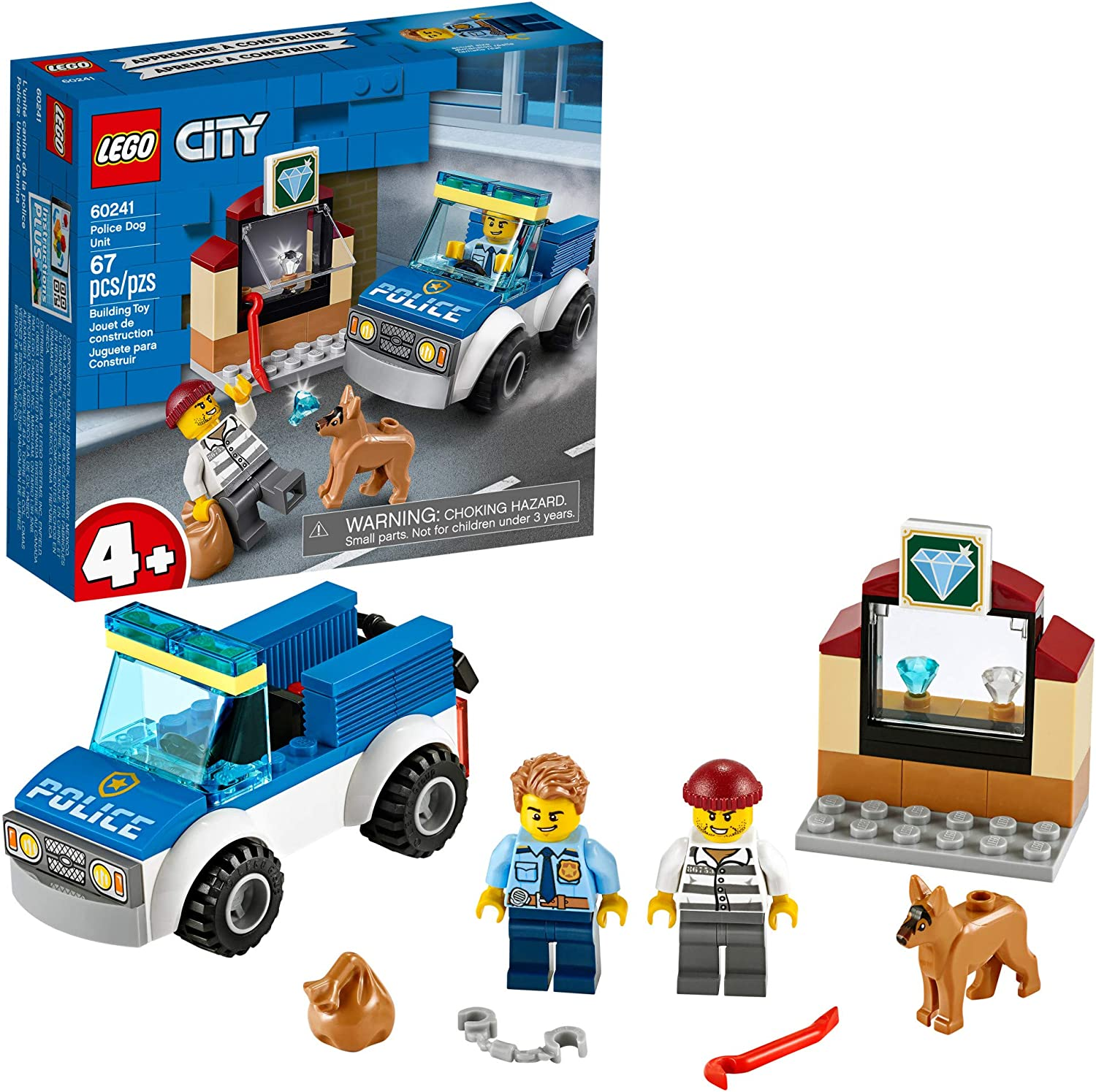 Amazon Com Lego City Police Dog Unit 60241 Police Toy Cool Building Set For Kids New 2020 67 Pieces Toys Games