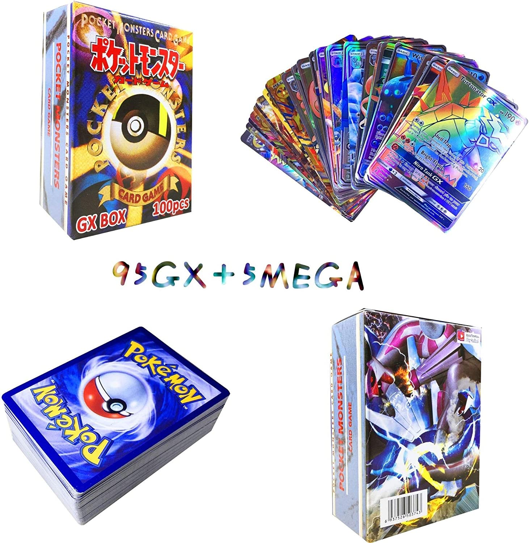 Sinwind 100 Piezas Pokemon Cartas, Tarjetas de Pokemon, Pokemon Trading Cards, Juego de Cartas, Cartas Coleccionables, Trainer Cartas, Cartas Pokémon Game Battle Card, Regalos para niños (95GX+5MEGA)