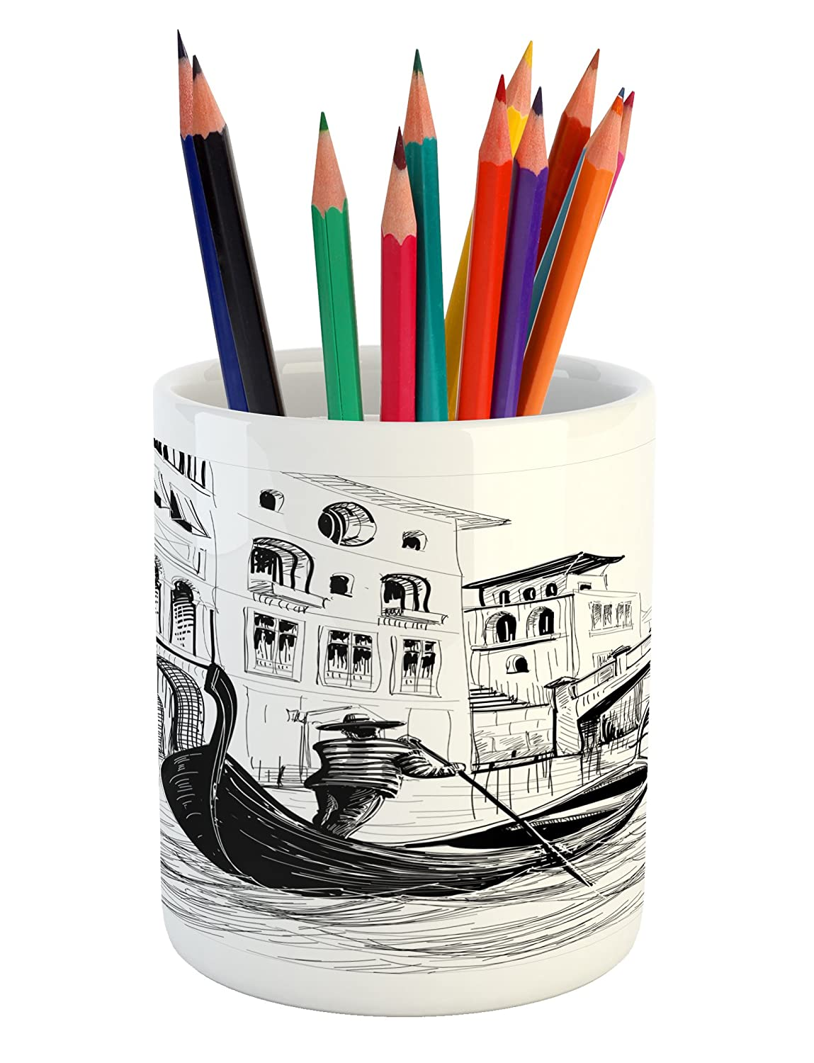 Amazon com ambesonne sketchy pencil pen holder gondola in