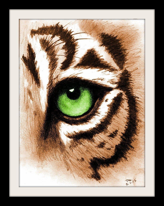 Amazon com tiger eye art print green animal artwork for walls handmade
