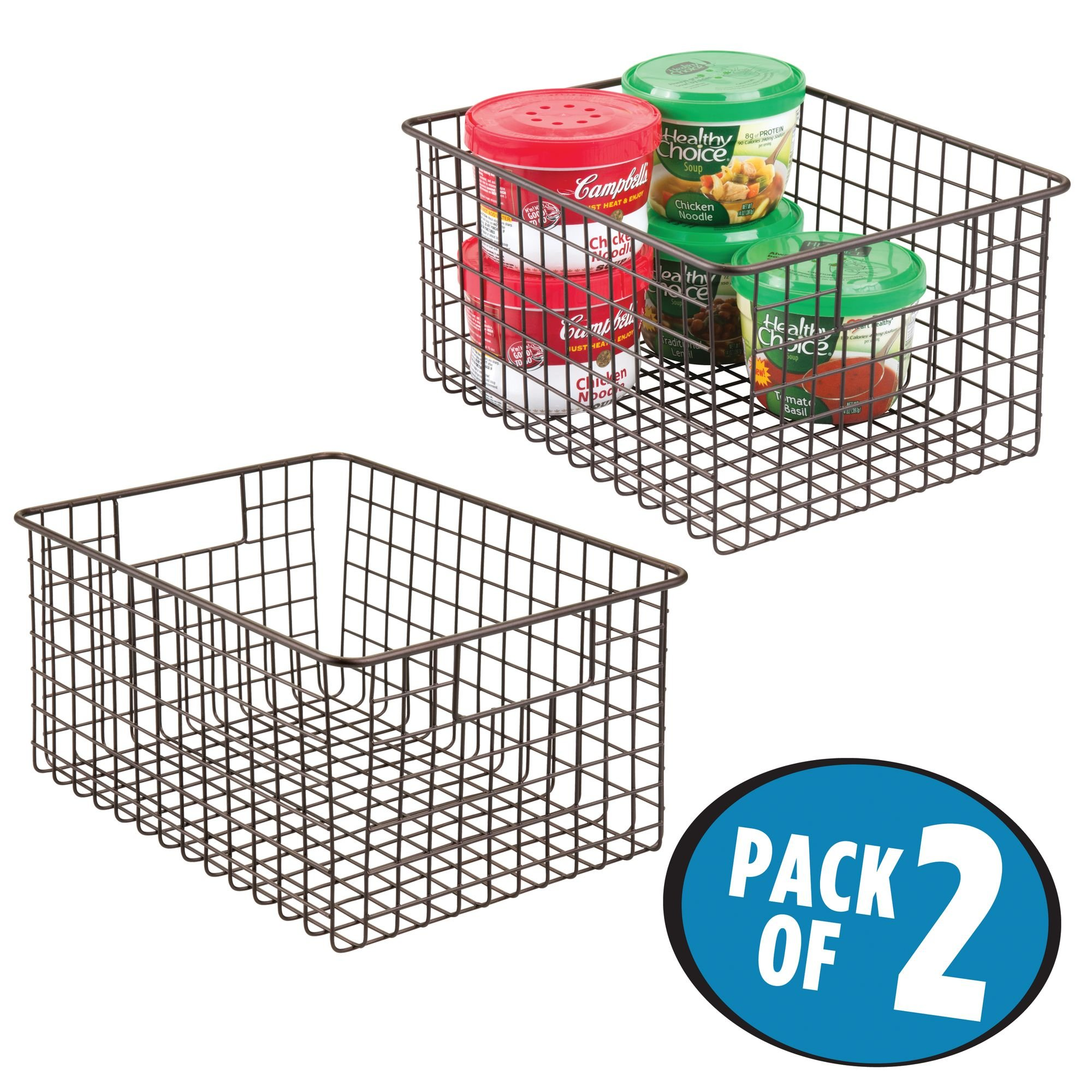 mDesign Kitchen Pantry Bathroom Office Garage Freezer Food Shelf Storage Organizer Heavy Duty Metal Wire Mesh Bins Baskets with Handles, 12'' x 9'' x 6'' - Set of 2, Bronze