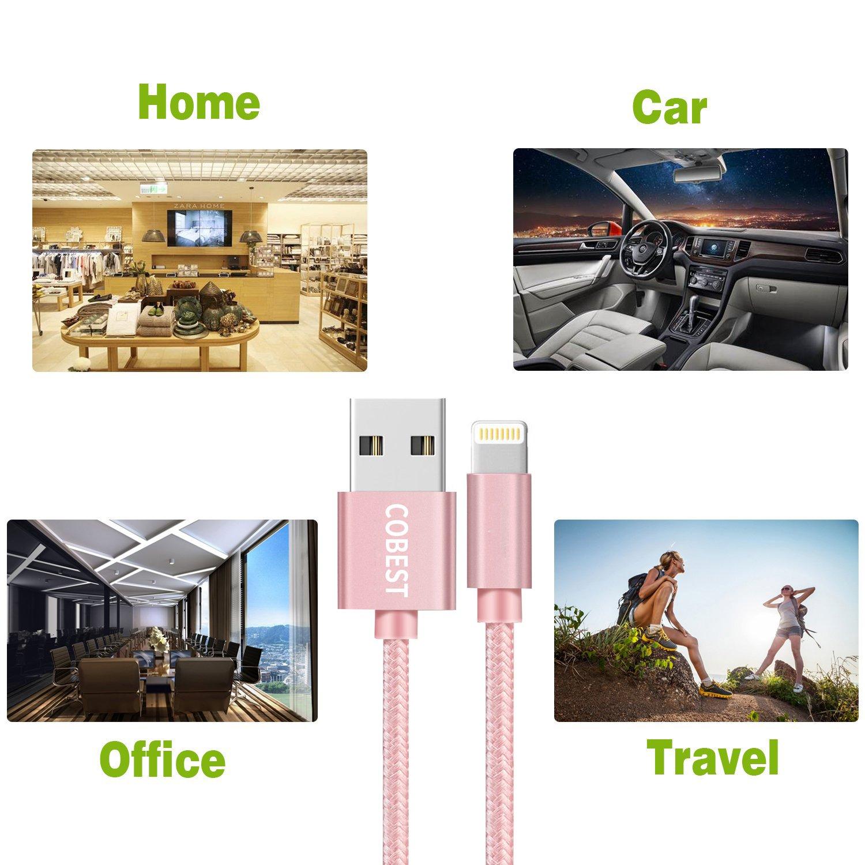 Cable USB Cargador Cable Carga Rapida 1m Nylon Cable USB de Datos para iPhone X/8/7/7 Plus/6S/6S Plus/6/6 Plus/5/5s/5 C/SE, iPad, iPod (2 piezas de 1m, ...