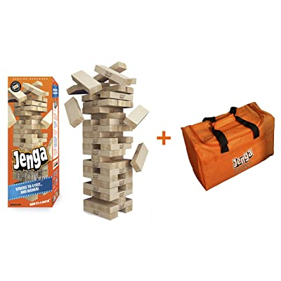 Jenga Giant Genuine Hardwood Game & Carry Bag (Bundle) (Stacks to 4+ feet. Ages 8+): Toys & Games