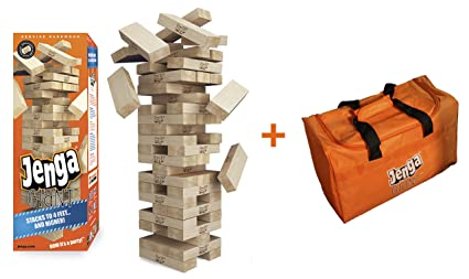 Amazoncom Jenga Giant Genuine Hardwood Game Carry Bag Bundle