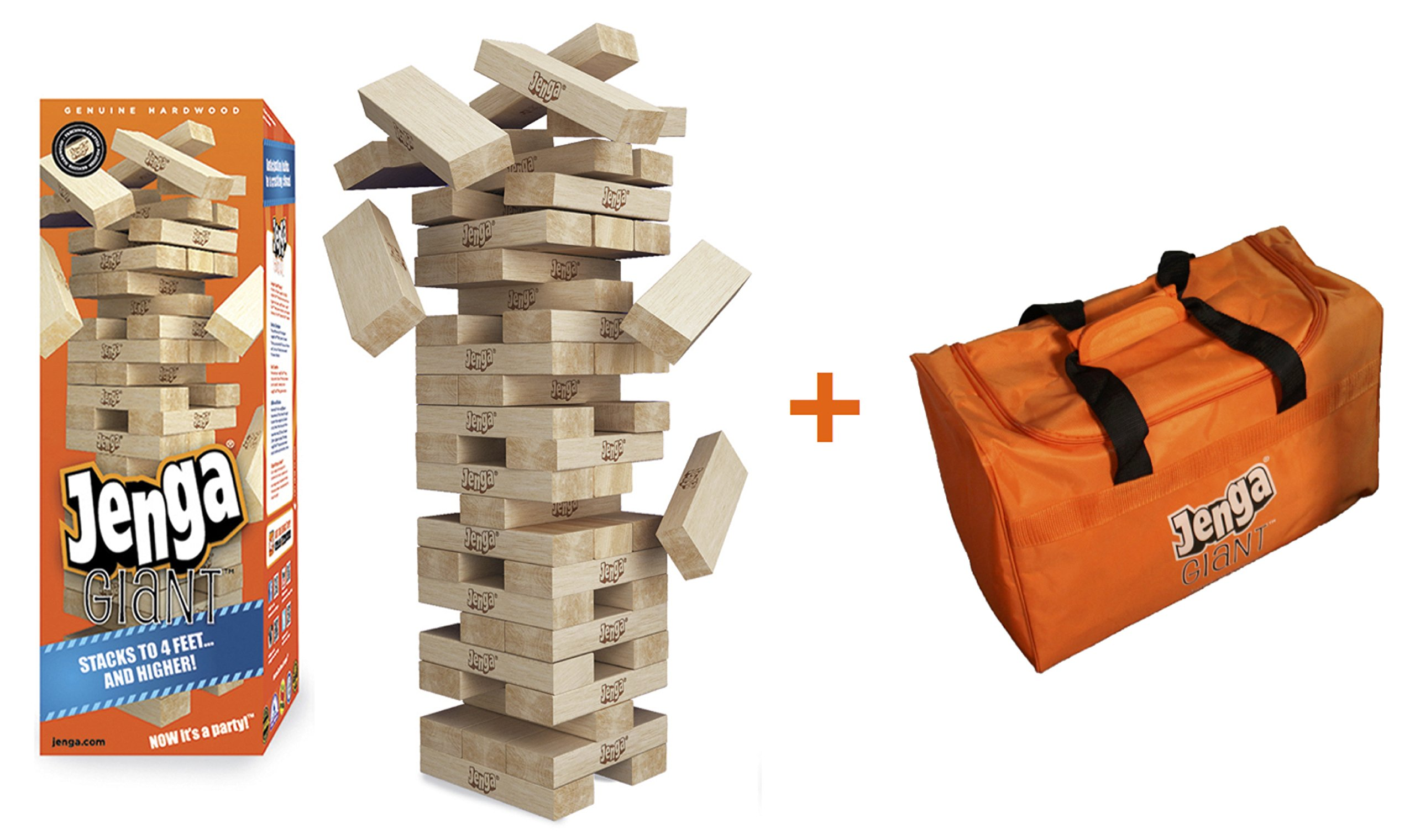 Jenga GIANT Genuine Hardwood Game & Carry Bag (Bundle) (Stacks to 4+ feet. Ages 8+) by Jenga