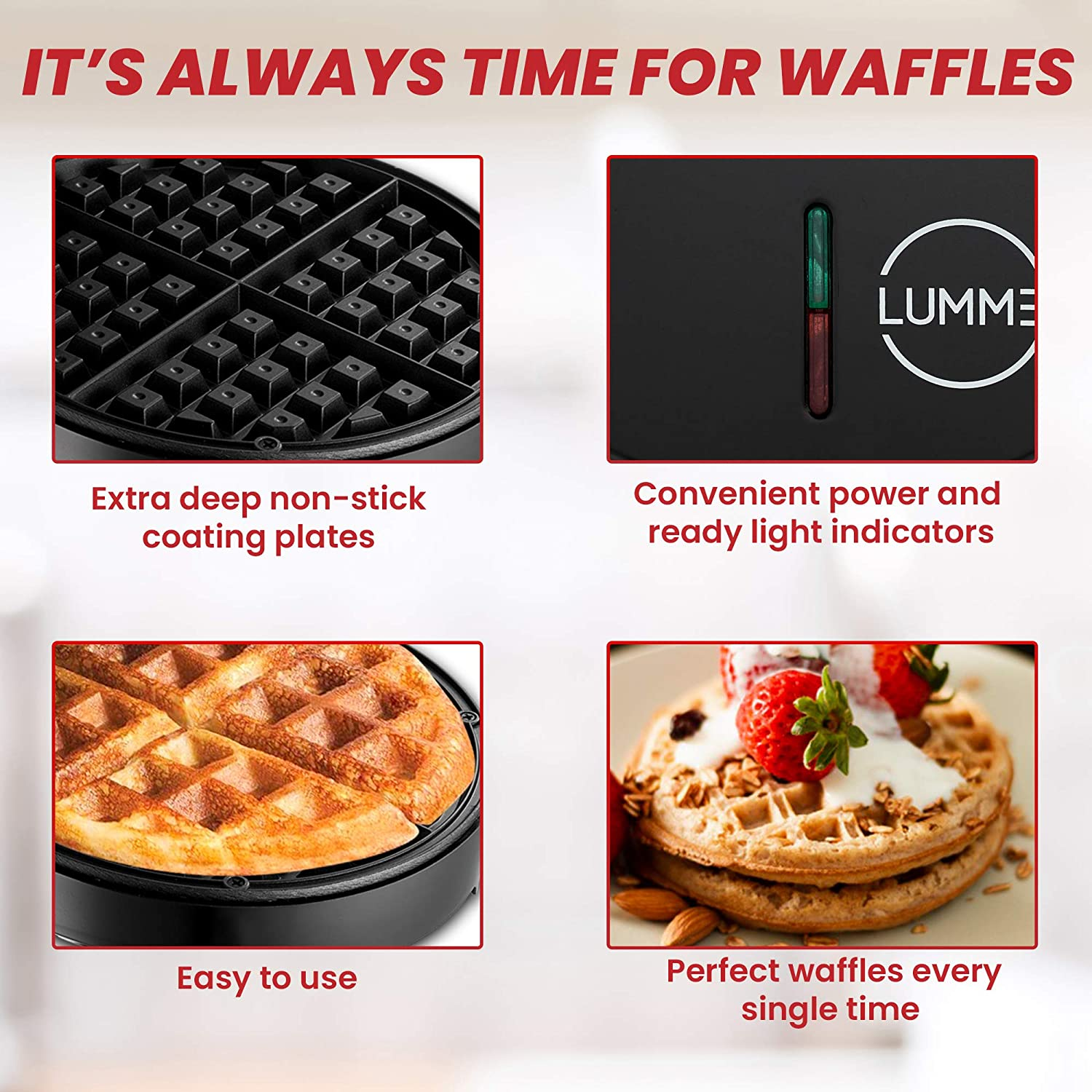 Lunch Hash browns other on the go Breakfast or Snack Lumme Waffle Maker Belgian Waffle Maker Machine Belgian Waffle Maker for Individual Waffles Paninis
