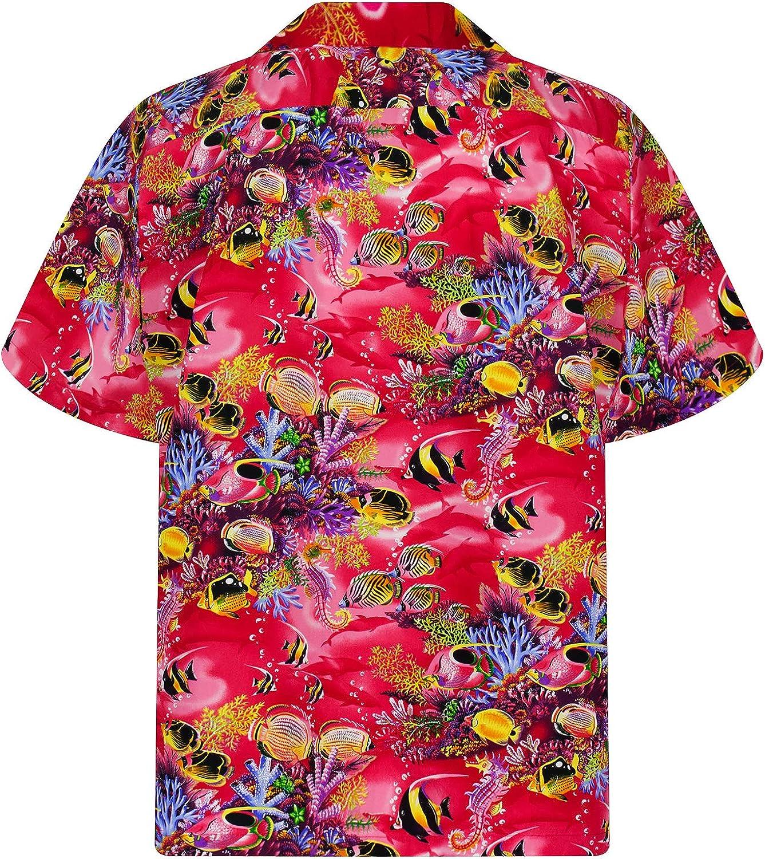 KYs | Original Camisa Hawaiana | Caballeros | S - 4XL | Manga Corta | Bolsillo Delantero | Estampado Hawaiano | Acuario Piscis | rojo: Amazon.es: Ropa y accesorios