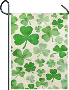 "LAOSHOUXIN St Patrick's Day Burlap Garden Flag, Double Sided Outdoor Lawn Yard Home Decoration Small Flag Irish Shamrock Clover Banner Holiday Green Clover Party Beer Accessories Decor, 12.9"" x 17.7"""