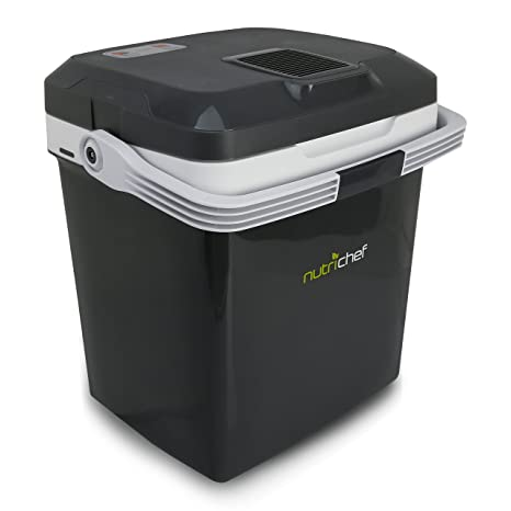 Plug In Cooler >> Nutrichef Pktcec28sl Portable Electric Cooler Fridge Food Warmer 30 Can 28l Capacity Personal Thermoelectric Dual Cooling Warming Digital Plug In