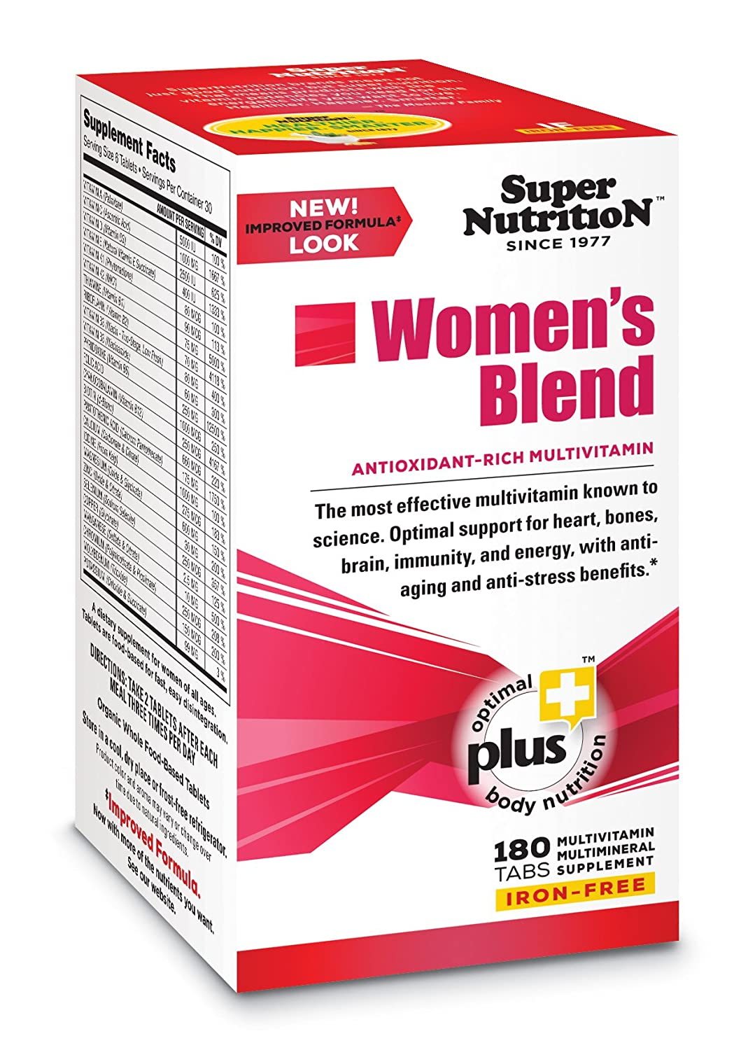 SuperNutrition, Women's Blend Multi-Vitamin, Iron-Free, High-Potency, 6/Day Tablets, 30 Day Supply