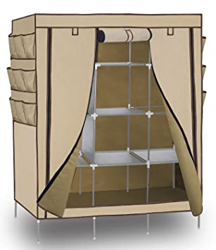 Portable Storage Organizer Wardrobe Closet, Beige, 13 Customizable Shelves  With Sturdy, Rust