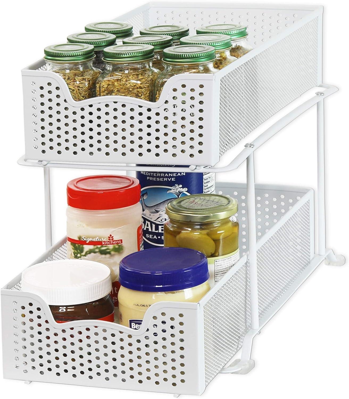 White Simple Houseware 2 Tier Sliding Cabinet Basket Organizer Drawer
