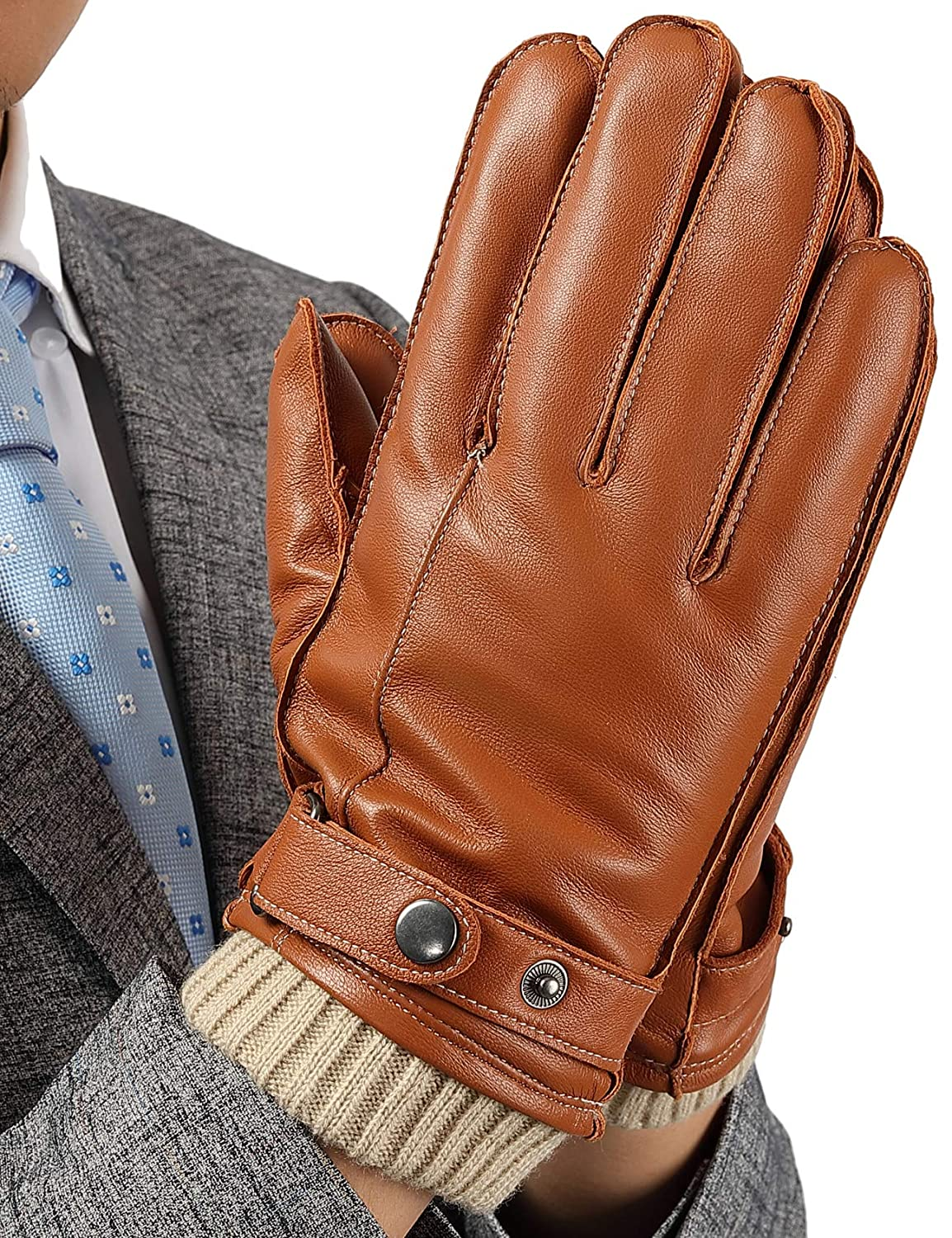 Leather Touchscreen Gloves for Men M Gifts Boxes Driving Textinng Winter Cold Weather Brown Gloves
