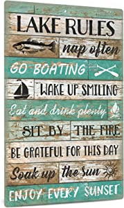 Putuo Decor Lake Rules Decor, Country Lake House Decor for Farmhouse, Cabin, Beach, Bar, 12x8 Inches Aluminum Metal Wall Sign - Go Boating