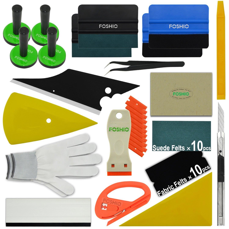 FOSHIO Pro Car Vinyl Wrapping Tools El Kit de instalaci/ón de la arandela Auto Incluye Todo el Tipo de Squeegees magn/ética Cinta m/étrica Suave raspador de la maquinilla de Afeitar Cortador