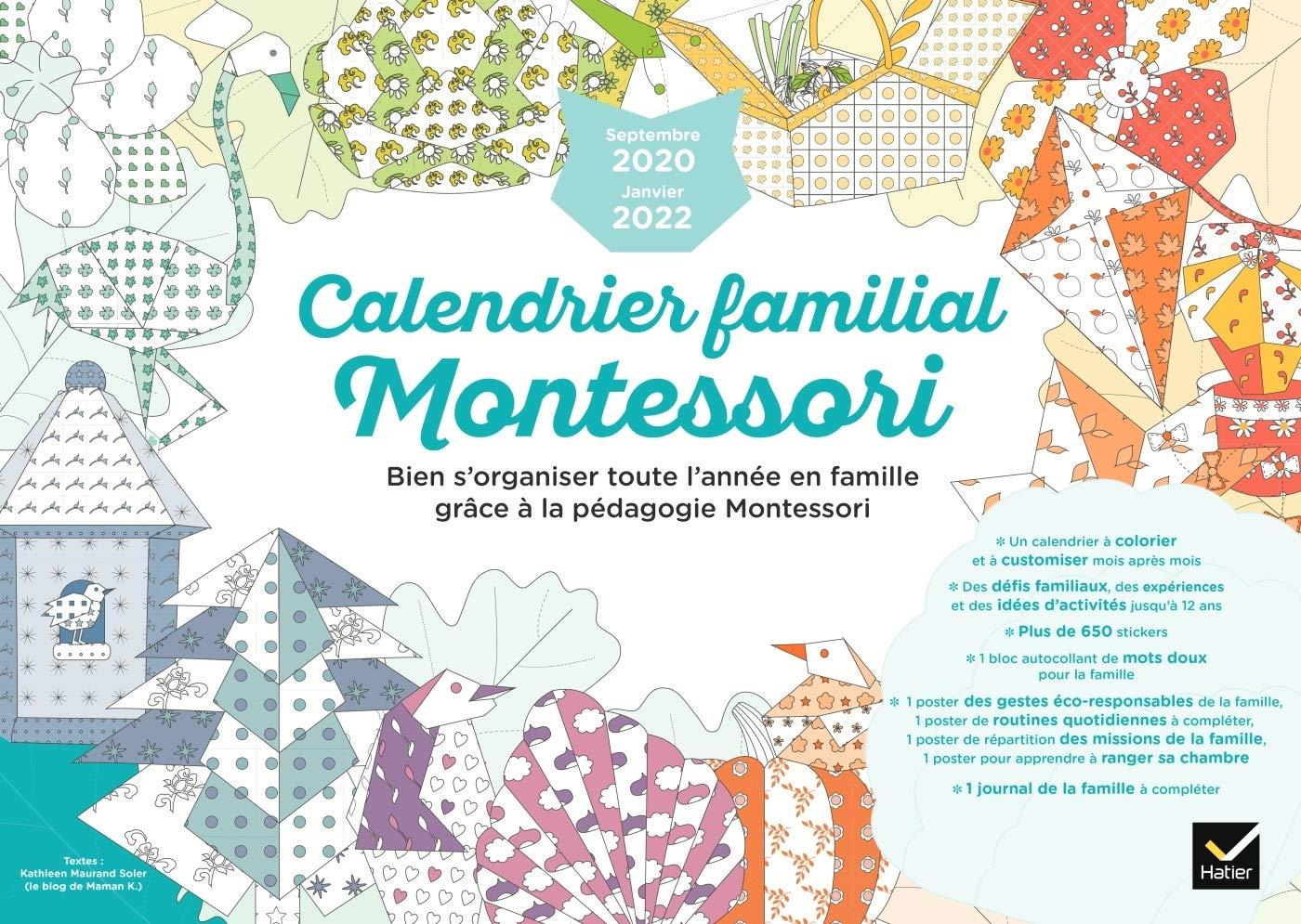 Calendrier Montessori 2022 Calendrier familial Montessori septembre 2020 à janvier 2022 (Vie