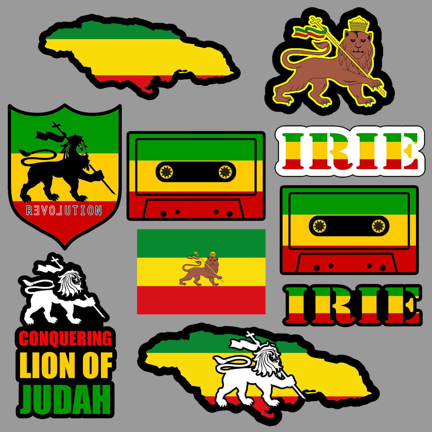 Amazon com lion of judah sticker decal pack lot rasta rastafari jamaica reggae 420 skate