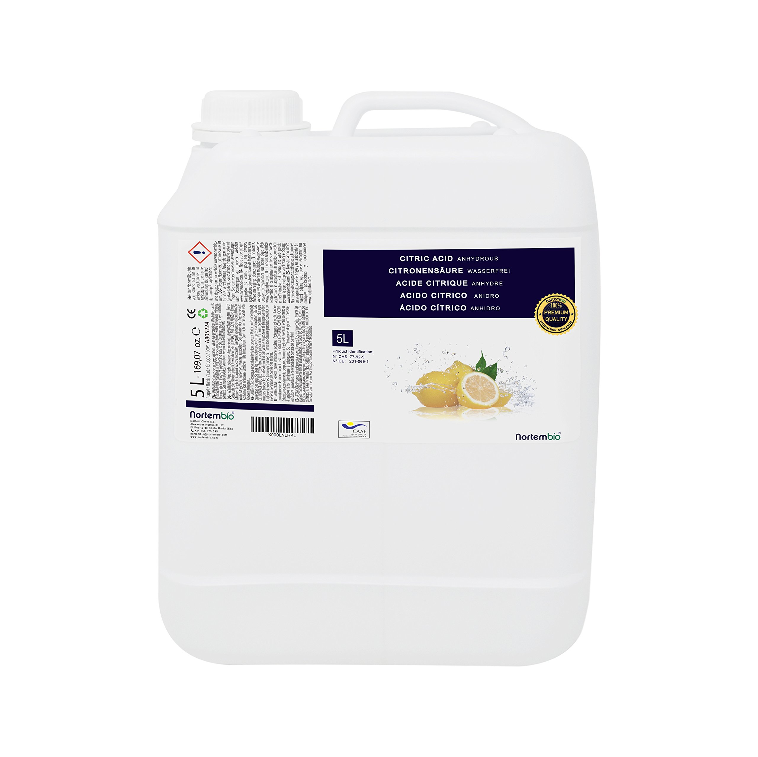 NortemBio Ácido Cítrico 5L. Líquido Concentrado, 100% Puro. para Producción Ecológica.