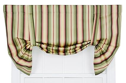 Ellis Curtain Mateo Medium Scale Stripe Print Lined Tie Up Valance 50 By 30