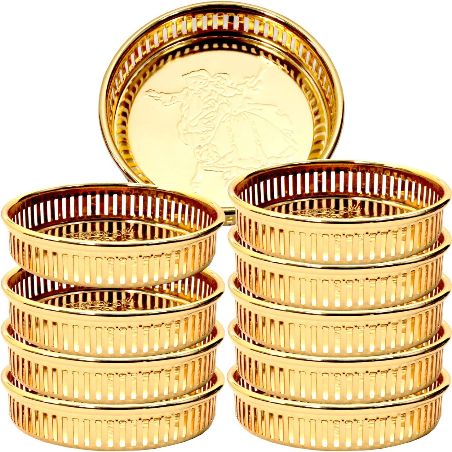 Maro Megastore (Pack of 10) 3-Inch x 3-Inch x 0.7-Inch Round Iron Gold Plated Candy Sweet Cupcakes Nuts Peanuts Candy Sweet Biscuit Dessert Tea Dried Fruits Macaron Cookies Stand Bucket Ashtray TS-159