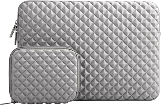 Gray MOSISO Laptop Sleeve Compatible with 2020 2019 2018 MacBook Air 13 inch A2179 A1932 13 inch MacBook Pro A2251 A2289 A2159 A1989 A1706 A1708,Diamond Foam Neoprene Bag Cover with Small Case