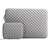 MOSISO Laptop Sleeve Compatible with 2018 MacBook Air 13 inch with Retina Display A1932,13 inch New MacBook Pro A1989 A1706 A1708, Diamond Foam Water Repellent Neoprene Bag with Small Case, Gray