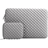 MOSISO Funda Protectora Compatible 13-13,3 Pulgadas MacBook Air/MacBook Pro/Pro Retina/Surface Laptop 2 2018 2017/Surface Book 2/1, Diamante Espuma Agua Repelente Bolsa con Pequeño Caso, Gris