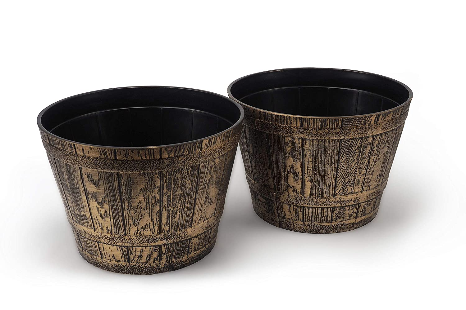 Large Rustic Medieval Whiskey Barrel Look, Set of 2 French Country Style Flowerpot / Planter for Indoor, Outdoor, Garden Patio Office Ornaments Home Decor Use Long Lasting Reusable Light Weight (Gold)