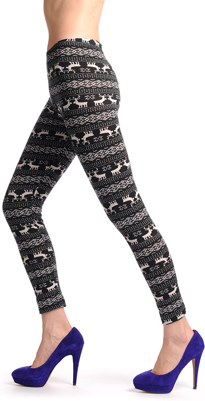 Leggings Black /& White Reindeers Aztec Jacquard Knit Print