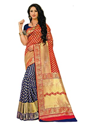 2c1d9e891b Nima's Collection Women's Traditional Kanjivaram Silk Saree for Bridal wear  with Blouse (Red & Blue): Amazon.in: Clothing & Accessories