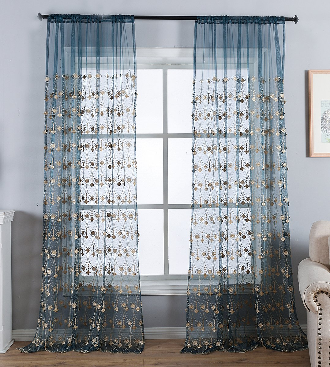 ASide BSide Classic Europern Style Sheer Curtains Retro Pattern Embroidered Rod Pocket top Voile Panel for Bedroom Kids Room 1280530C1PYFBU15263-8505-YH 2 Panels, W 52 x L 84 inch, Blue